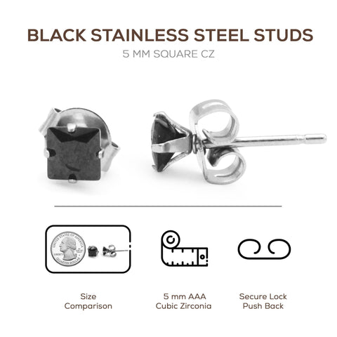 cubic zirconia black stud earrings