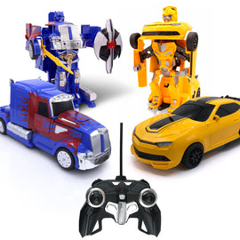 RC Toy Sports Car Transforming Warrior Robot Truck and Sport Car Set