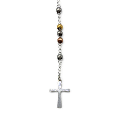 Traditional Rosary Necklace Five Decade Stainless Steel Catholic Prayer Beads (Silver/Gold/Rose Gold) 3mm