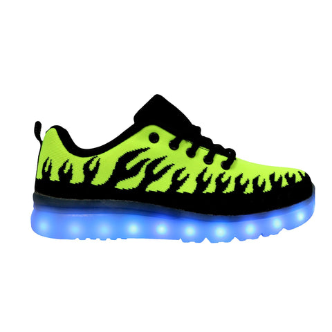 LED Light Up Sneakers Fabric Low Top Kids Inferno Sport Shoes