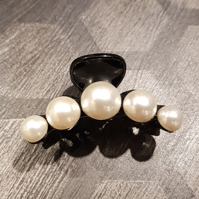 Hårklämma Pearls Black
