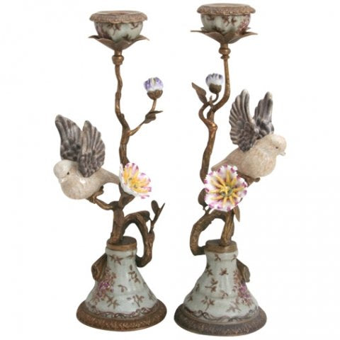 Pair of Candleholder Porcelain Brass Birds