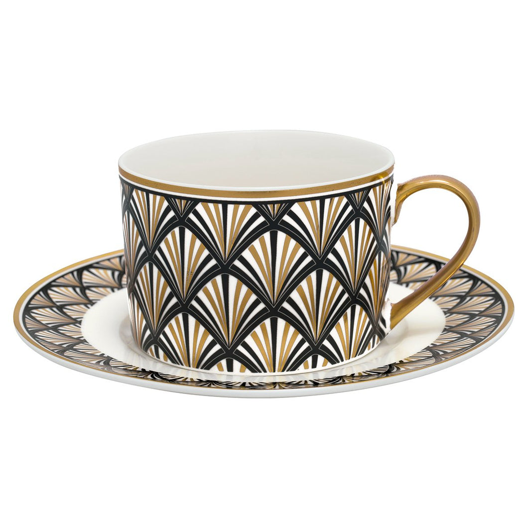 Kopp och tefat - Art Deco Black