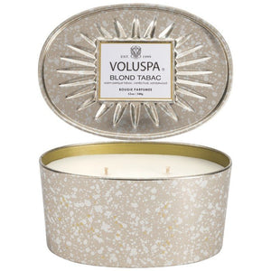 Voluspa Blond Tabac oval metal tin