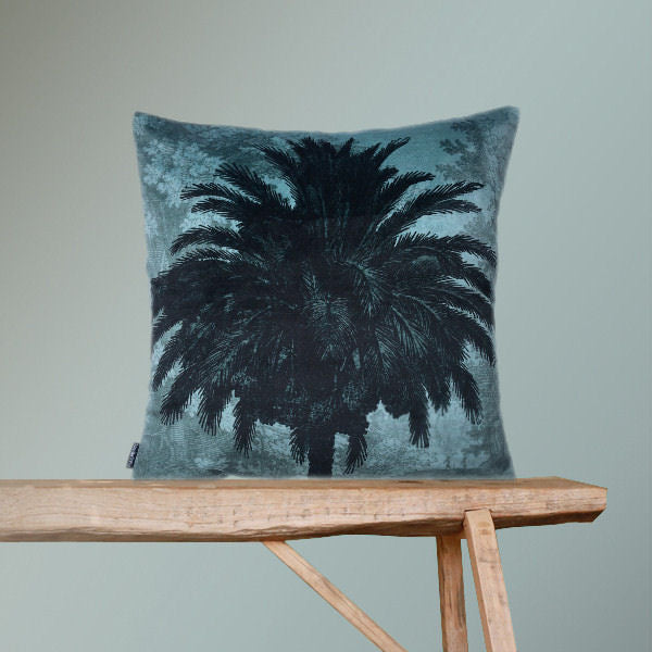 Velvet Cushion Cover Blue Palm