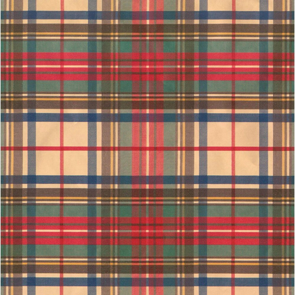 Gift Wrapping Paper Tartan Gift on Gold