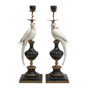 Pair of Candleholders Parrots Black & White