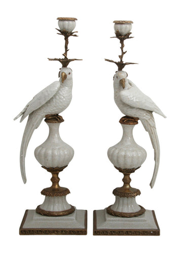 Pair of Candleholder Parrots White