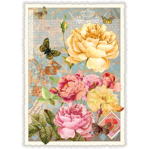 Carte Postale Butterfly Flowers
