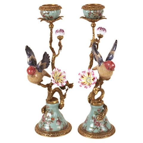 Pair of Candleholder Porcelain Brass Birds turqouise