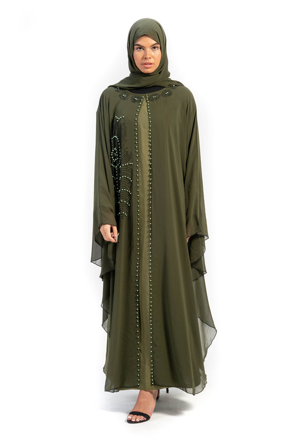 Forest Green Layered Abaya