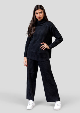 Comfy Knitted Roll Neck Co-ord with Loose Fitting Trousers - Black
