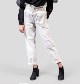Drawstring Paperbag Waist Canvas Trousers
