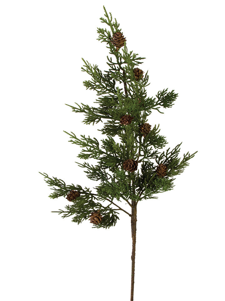 "28"" Cypress Pine Spray with Cones, Green"