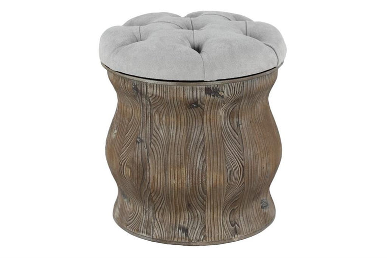 Wood and Fabric Stool
