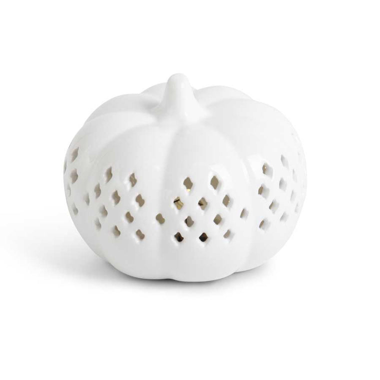 White Ceramic Cutout LED Pumpkin