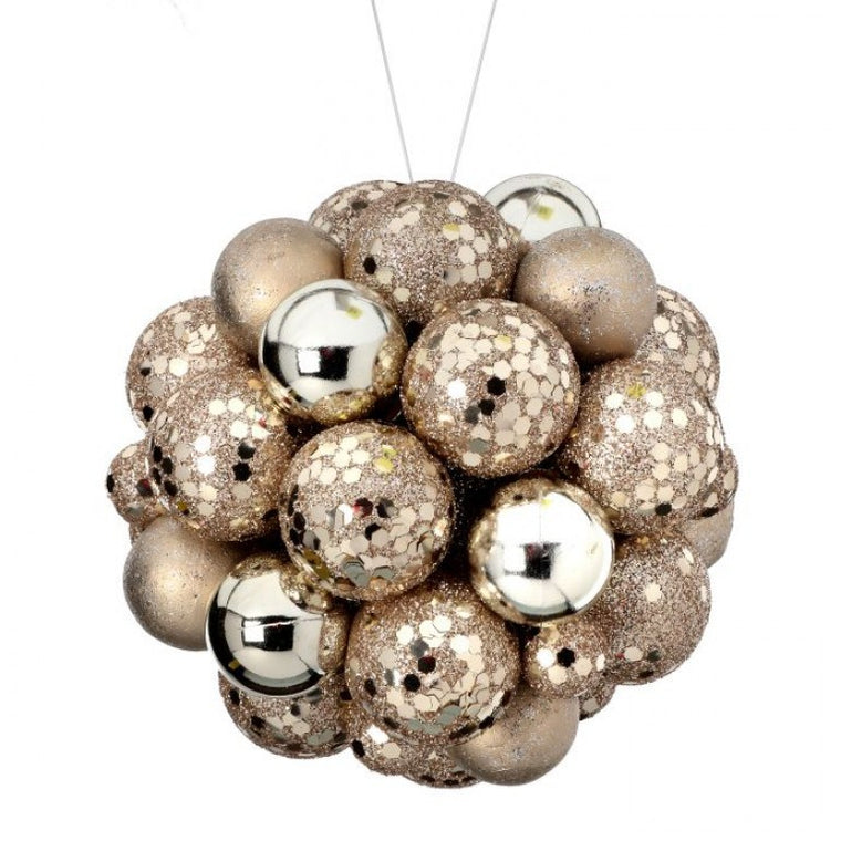 Glitter Mixed Ball Ornament, Platinum
