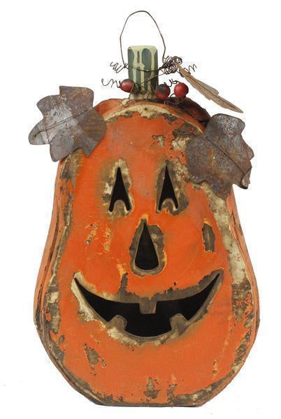 Wood Tin Pumpkin with Face
