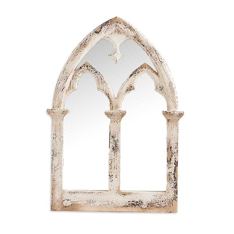 Distressed White Wood Arch Framed Mirror