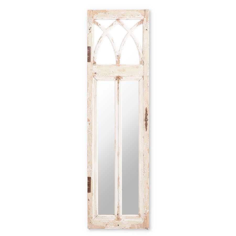 White Distressed Cathedral Mirror