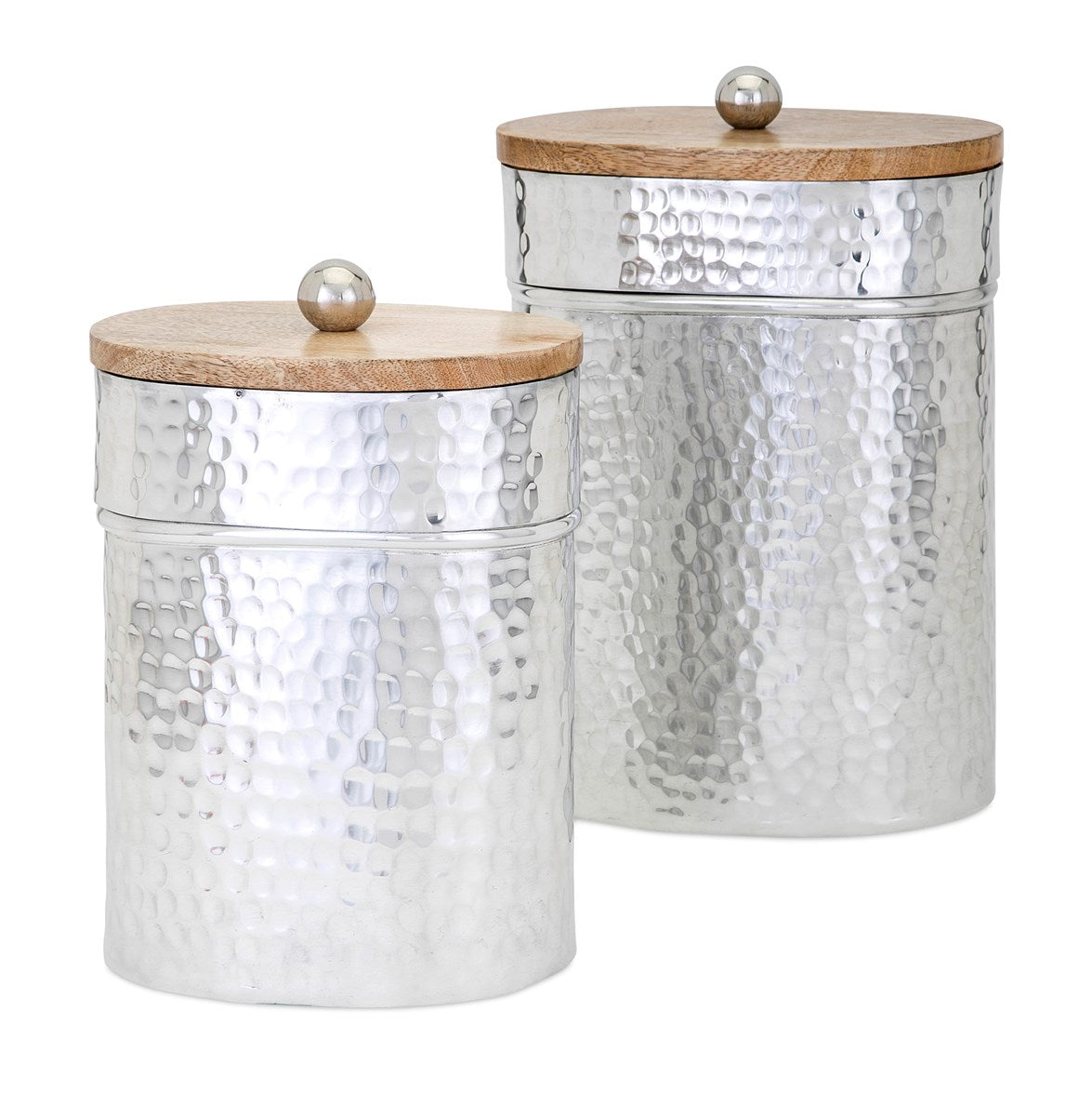 Lidded Aluminum Canisters, Set of 2