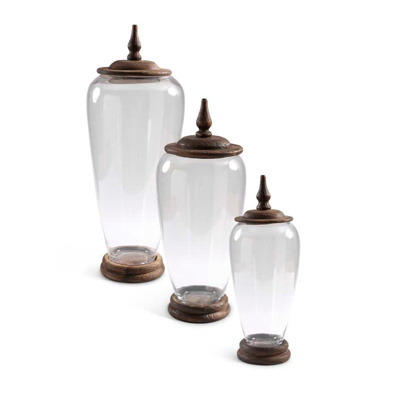 Glass Jars with Wood Lid, Set of 3