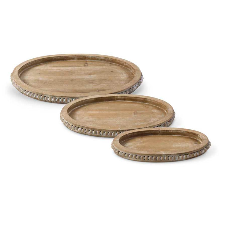 Wooden Oval Beaded Trays (Various Sizes)