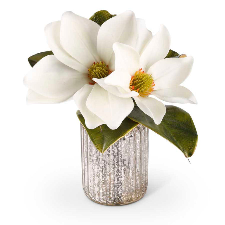 Magnolia Stem in Mercury Glass Vase