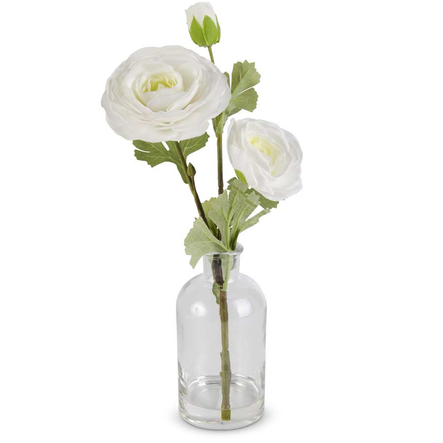 Real Touch White Triple Bloom Ranunculus in a Glass Bottle