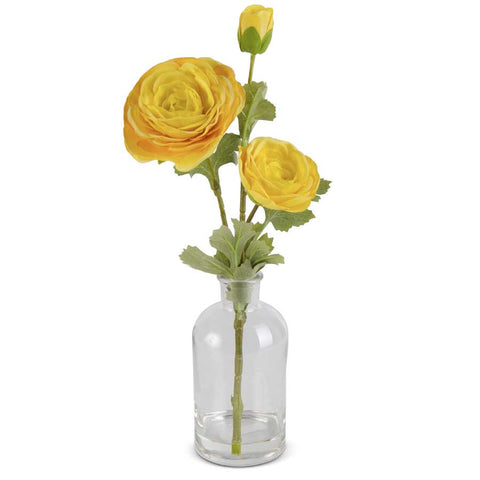 Real Touch Yellow Triple Bloom Ranunculus in a glass bottle.