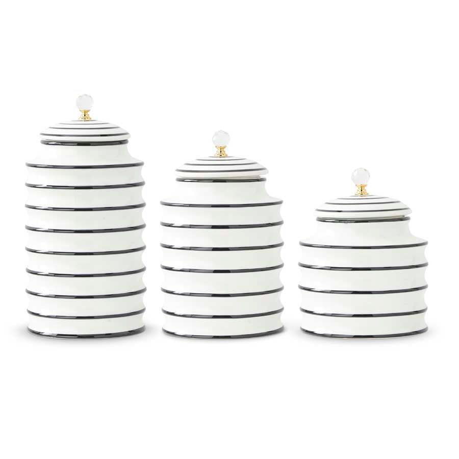 Black & White Ribbed Canisters