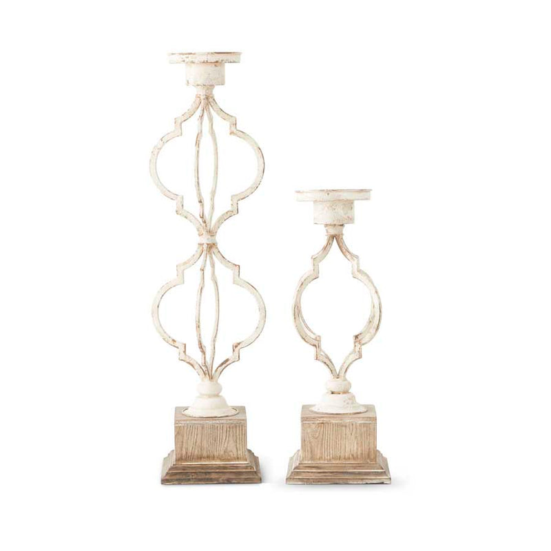 Whitewashed Quatrefoil Candleholders, Set of 2