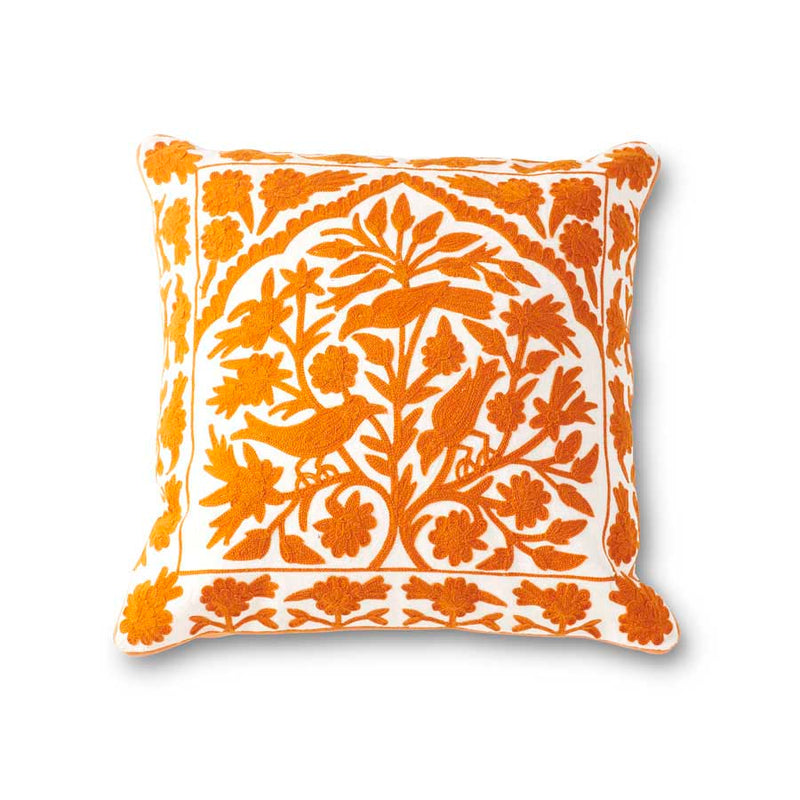 Orange and White Bird Embroidered Pillow