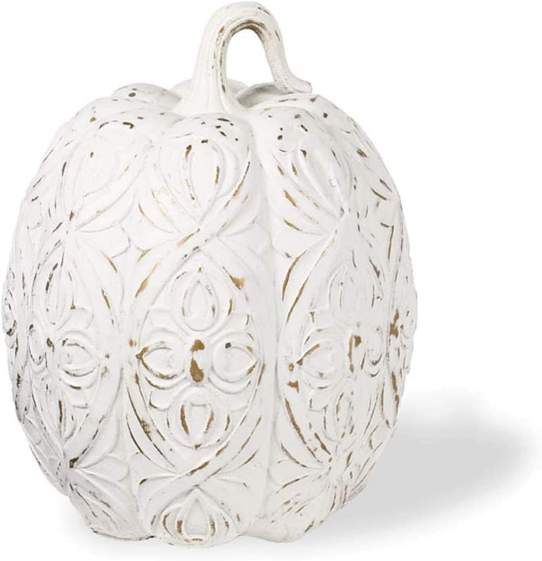 White Resin Pumpkin with Embossed Design