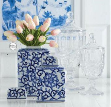 Blue and White Porcelain Canister, Set of 2