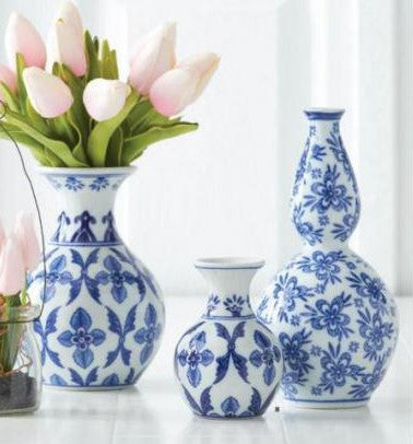Blue & White Bud Vases, (Various Sizes and Styles)