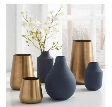 Navy Blue Matte Metal Small Vases (Various Sizes)