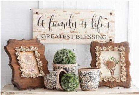 Wood Photo Frame with Metal Floral Detail