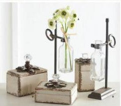 Metal Holder with Glass Bottle Vase