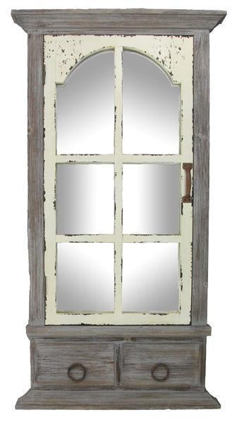 Antique Grey Ivory Mirror Door
