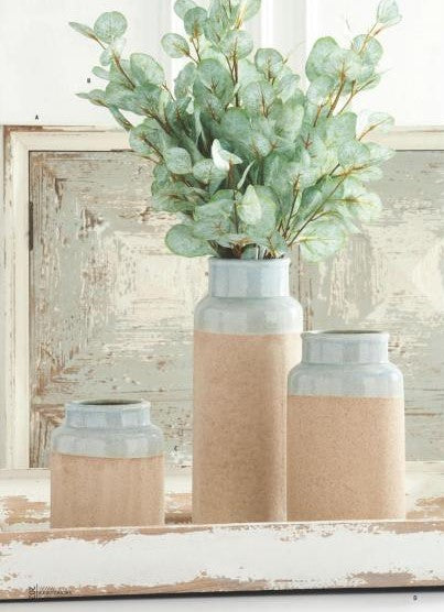 Ceramic Vases with Light Blue Glaze (Various Sizes)