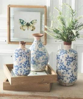 Blue & White Ceramic Jugs, (Various Sizes)