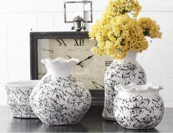 Gray Vine Scalloped Ceramic Container (Various Styles)