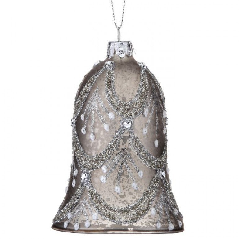 Vintage Glass Beaded Bell Ornament, Silver