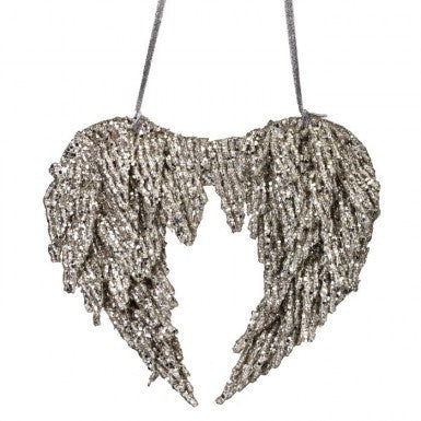Glitter Sequin Angel Wings Ornament