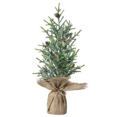 Frosted Mini Fir Tree with Cones In Burlap (Various Sizes)