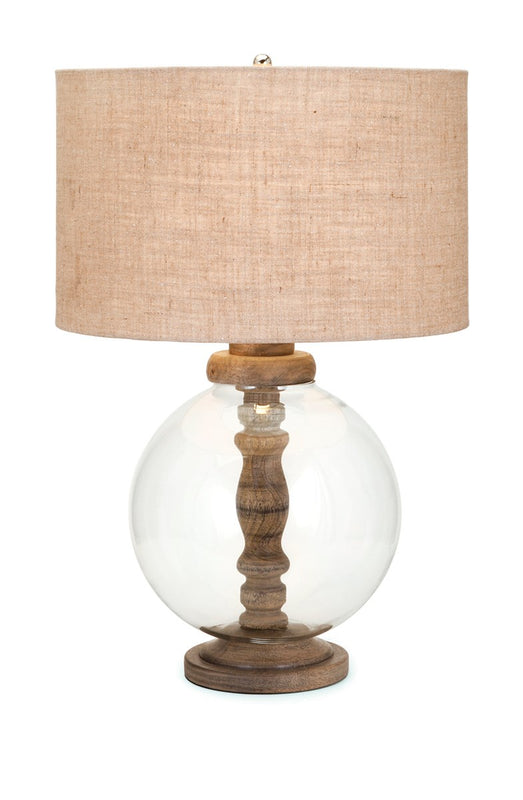 Wood and Orb Lamp