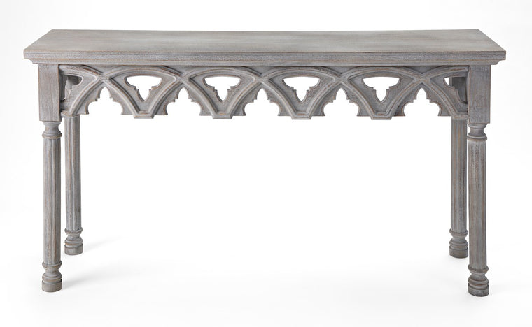 Hand Carved Gray Console Table