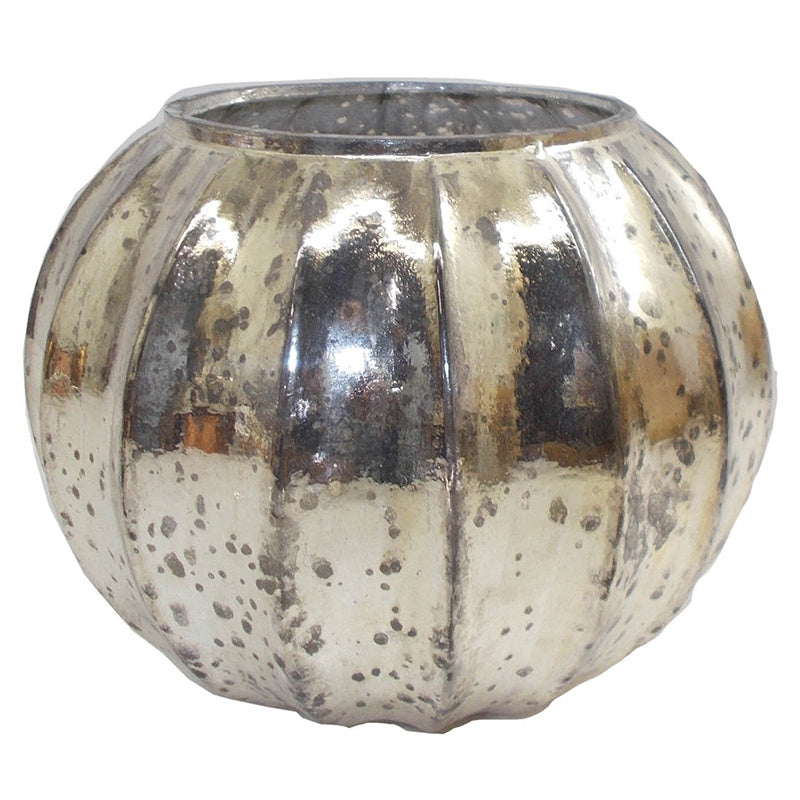 Mercury Glass Ribbed Round Vase