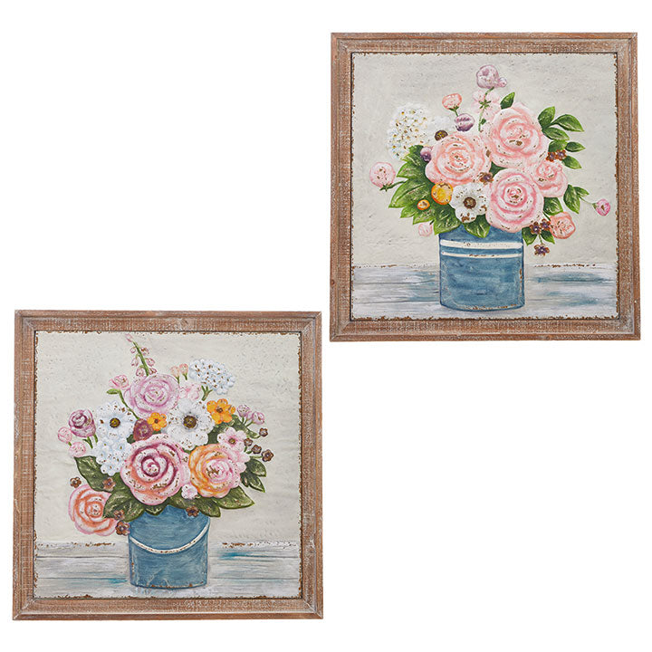 Bucket of Flowers Framed Wall Art